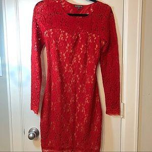 Express Lace long sleeve open back dress